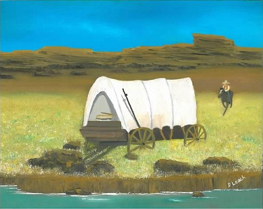Covered Wagon Painting - Covered Wagon by Donna Leach