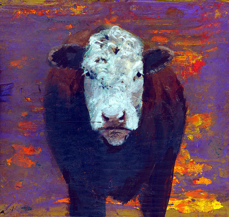 Cow Painting - Cow by Eric Atkisson