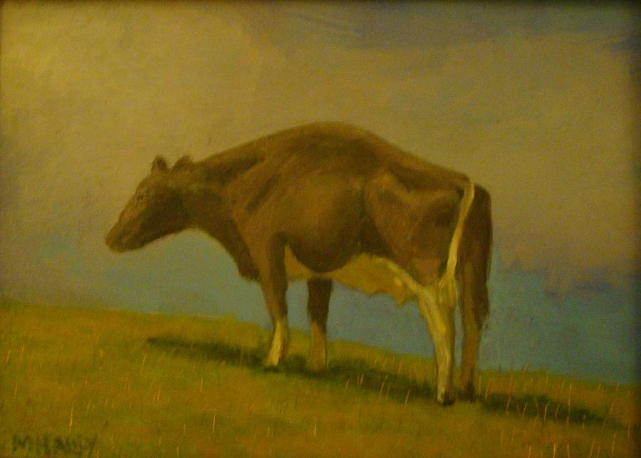 Cow Painting - Cow On Hill by Mark Haley