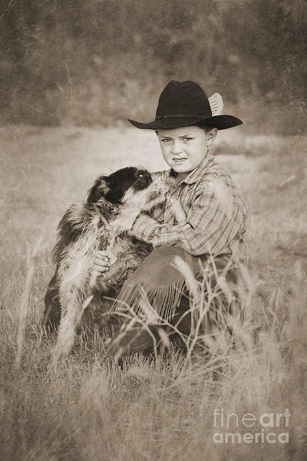 Cowboy Digital Art - Cowboy And Dog by Cindy Singleton