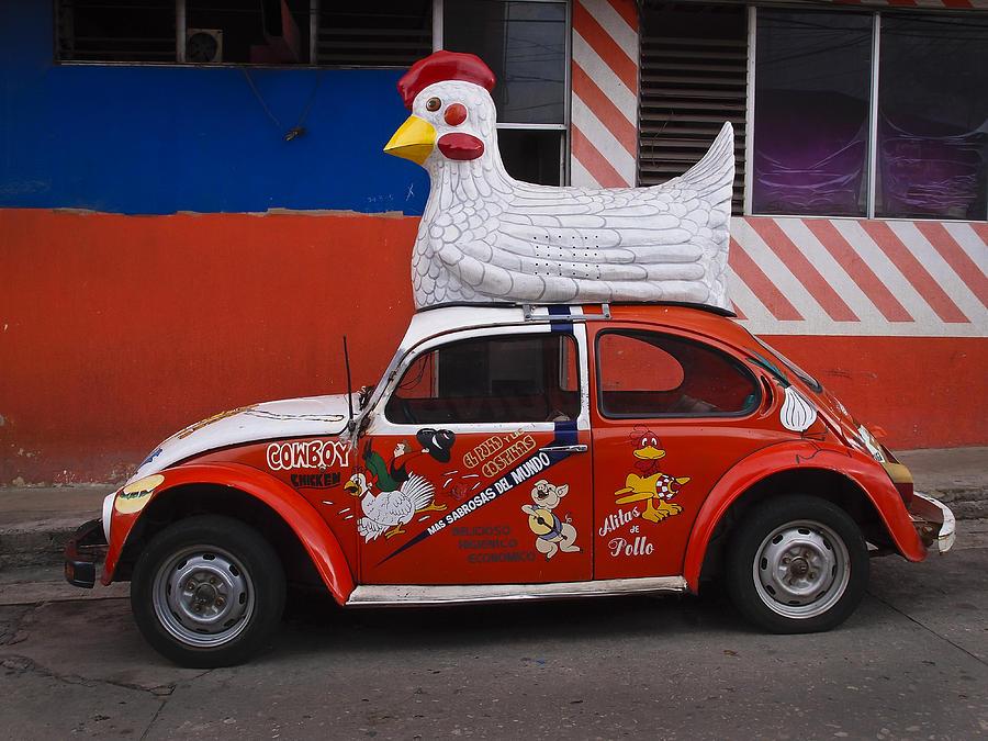Car Photograph - Cowboy Chicken by Skip Hunt