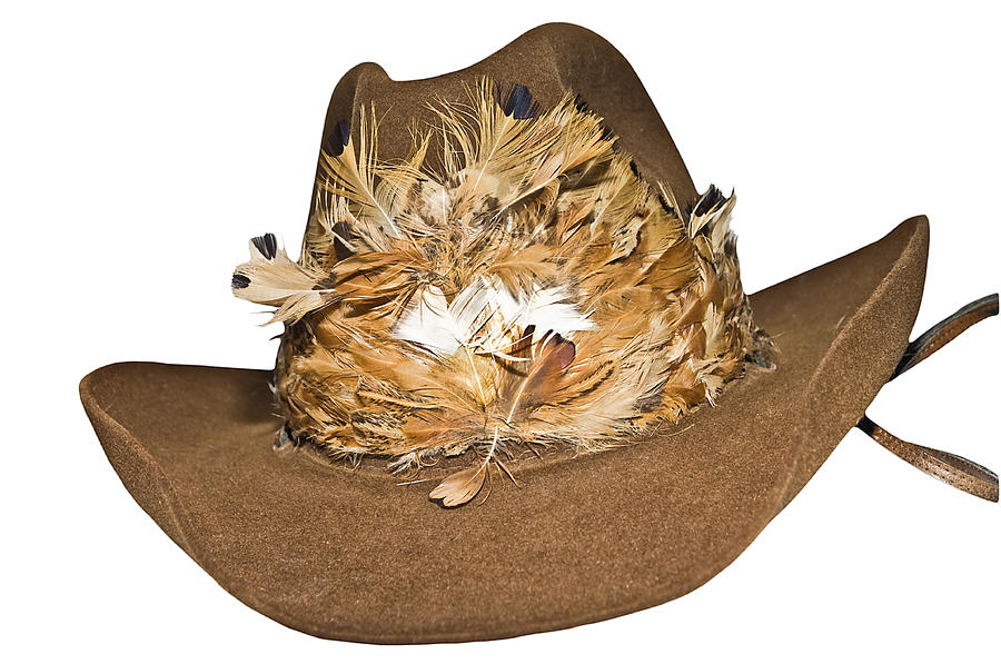Accessory Photograph - Cowboy Hat With Feathers by Susan Leggett