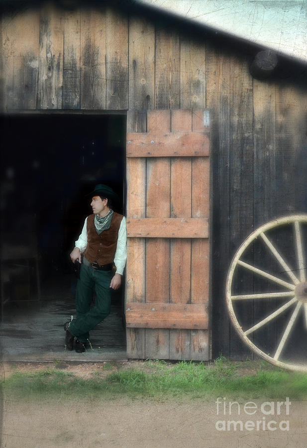 Man Photograph - Cowboy Leaning On Barn Door by Jill Battaglia & Cowboy Leaning On Barn Door Photograph by Jill Battaglia