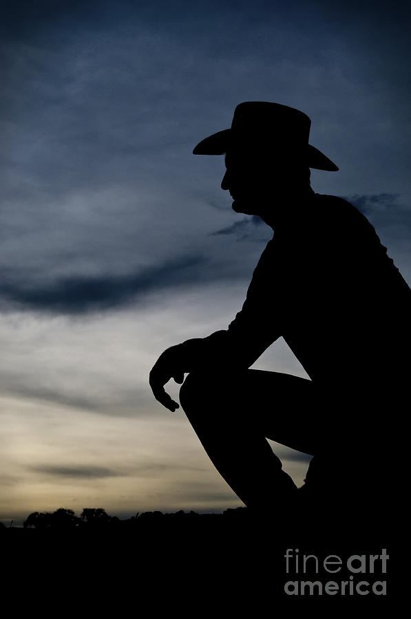 Cowboy Silhouette Photograph - Cowboy Silhouette At Sunset by Andre Babiak