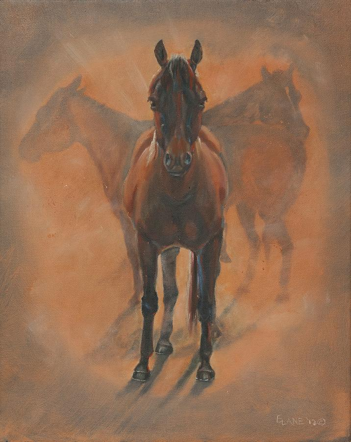 Brown Horse Painting - Cowponies In The Dust by Elizabeth Lane