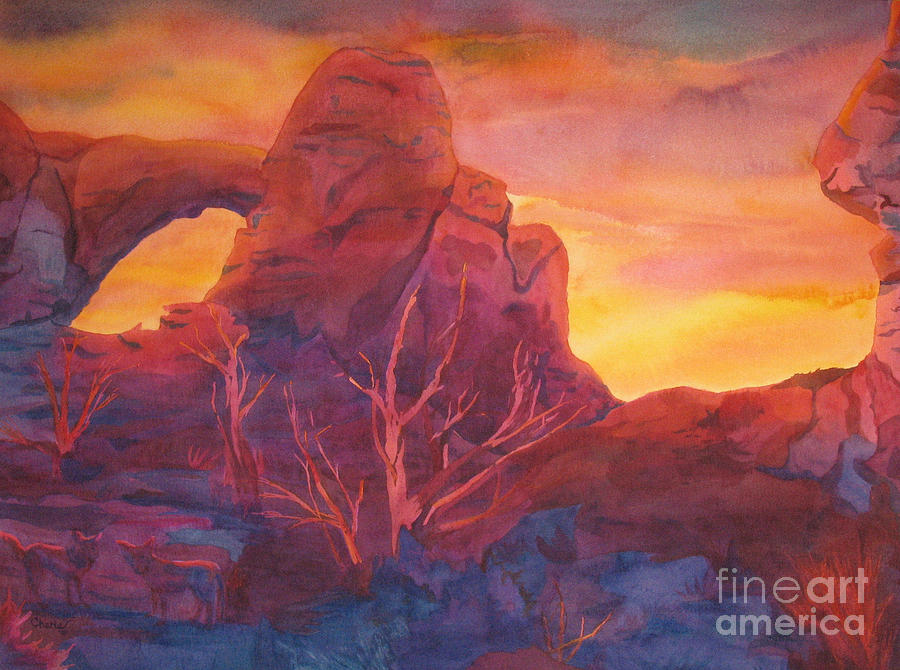 Sunset Painting - Coyote Dusk by Vikki Wicks
