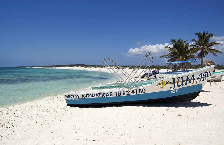Cozumel Mexico Fishing Boats On White Sand Beach ...