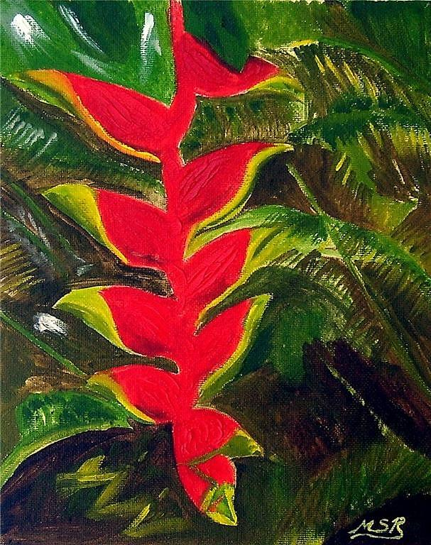 Floral Painting - Crab Claw Heliconia by Maria Soto Robbins