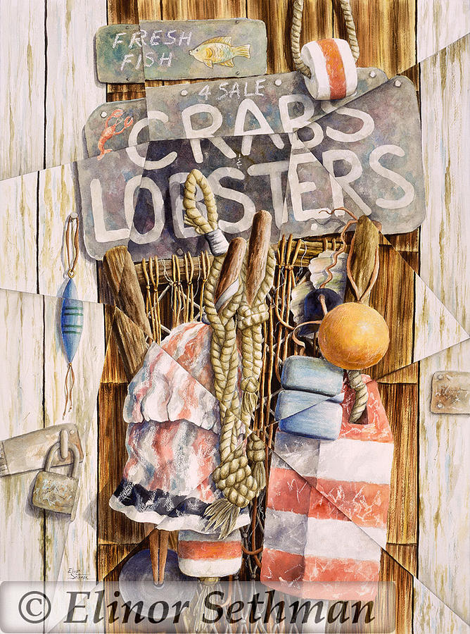 Crabs And Lobsters For Sale Painting by Elinor Sethman