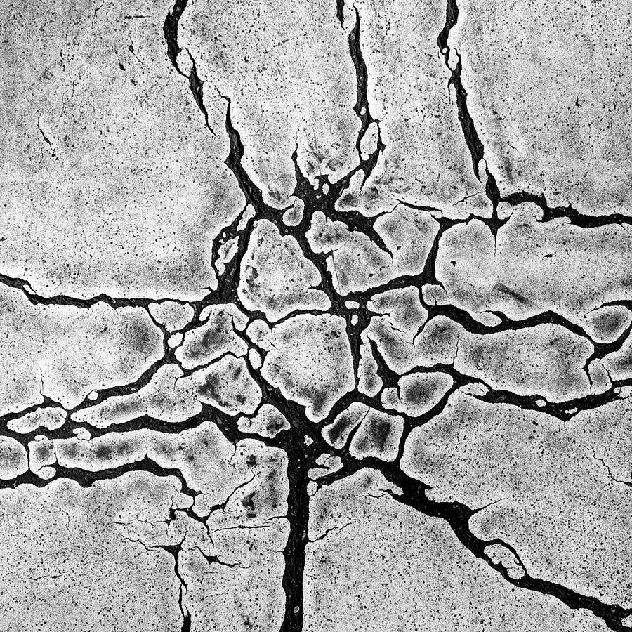 Square Photograph - Cracks by Gerard Hermand
