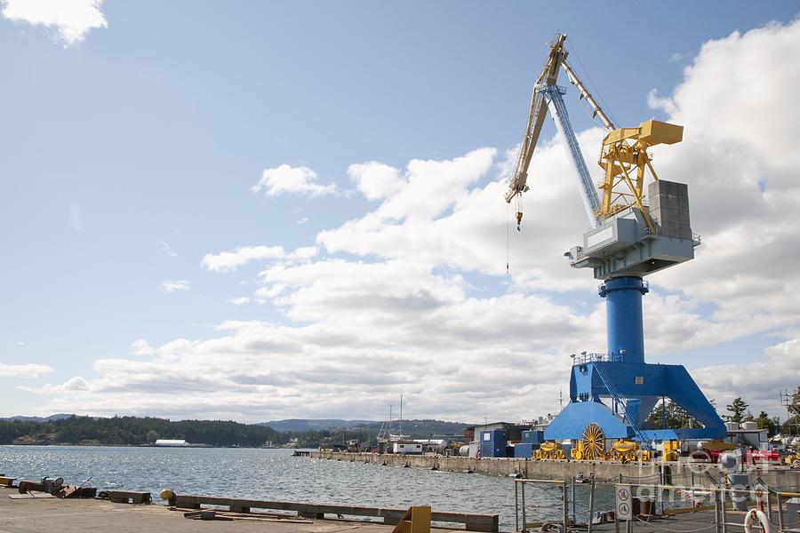Bay Photograph - Crane At Shipyard by Shannon Fagan