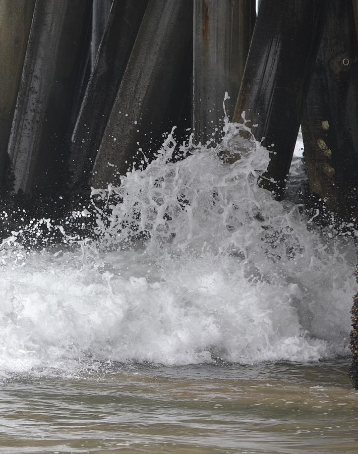 Wave Photograph - Crashing Below Shore by Naomi Berhane