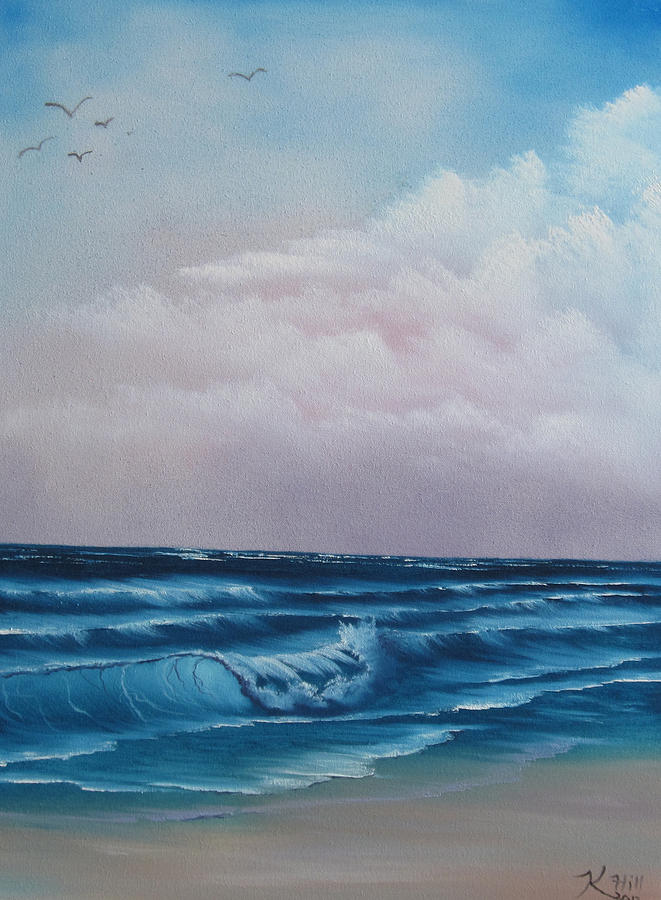 Seascape Painting - Crashing Wave by Kevin Hill
