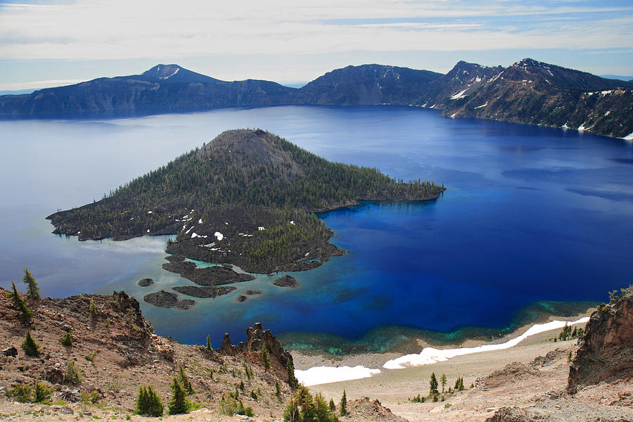 Crater Lake Photograph - Crater Lake Wizard Island by Pierre Leclerc Photography