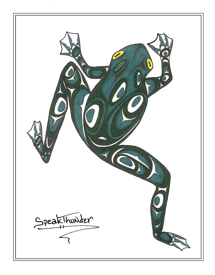 Frog Drawing - Crawling Frog Green by Speakthunder Berry