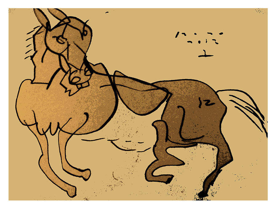 Horse Drawing - Crazy Horse by Peter Szabo
