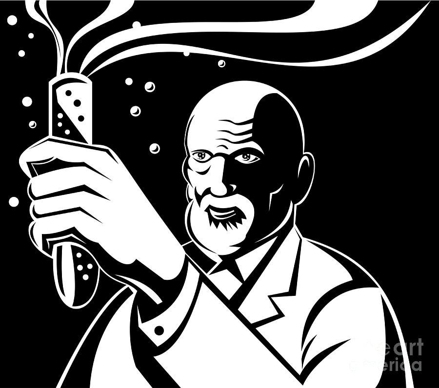 Illustration Digital Art - Crazy Mad Scientist Test Tube by Aloysius Patrimonio