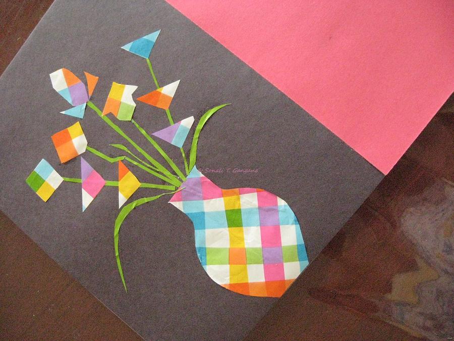 Paper Flower Vase Mixed Media - Creative Mind Unfolds  by Sonali Gangane