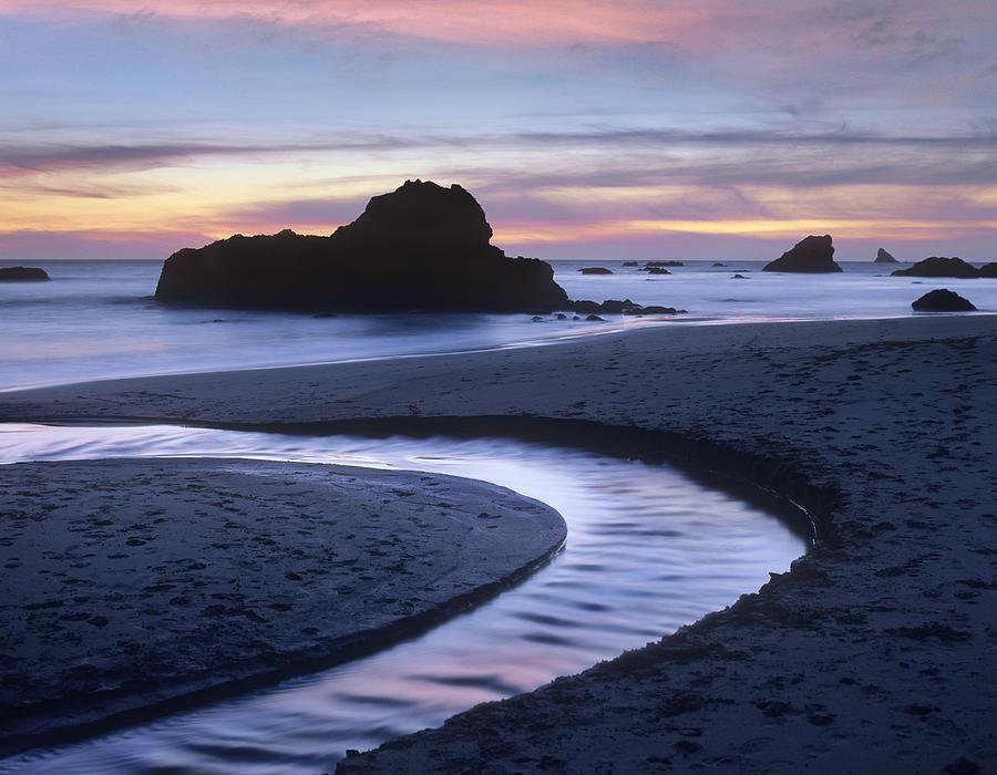 Tim Fitzharris Photograph - Creek Flowing Into Ocean At Harris by Tim Fitzharris