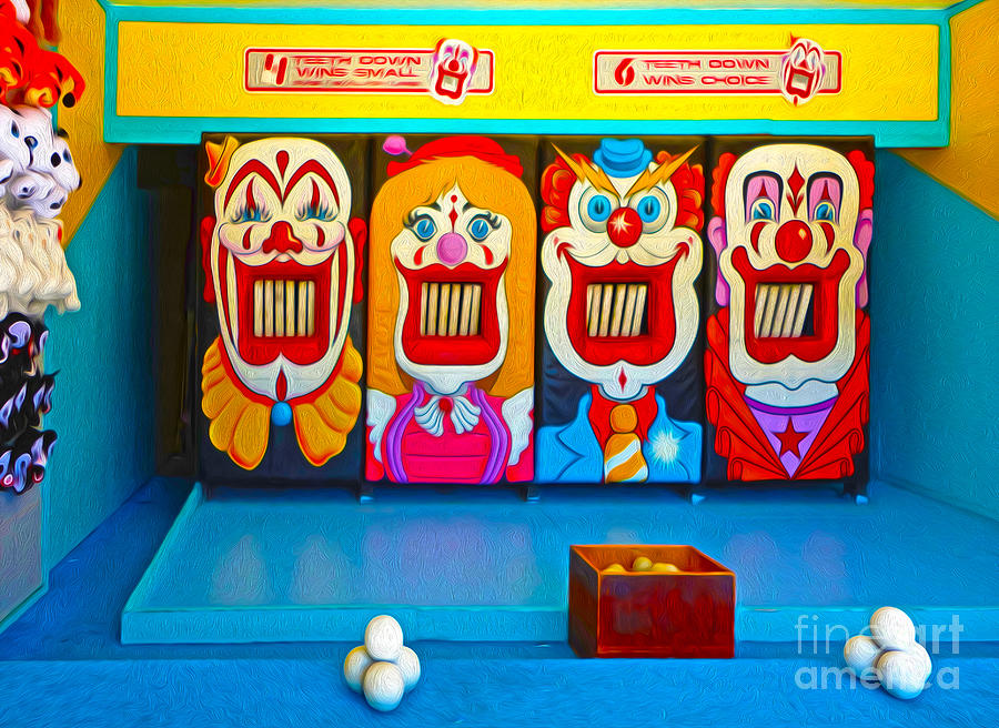 Santa Cruz Beach Painting - Creepy Clown Game by Gregory Dyer