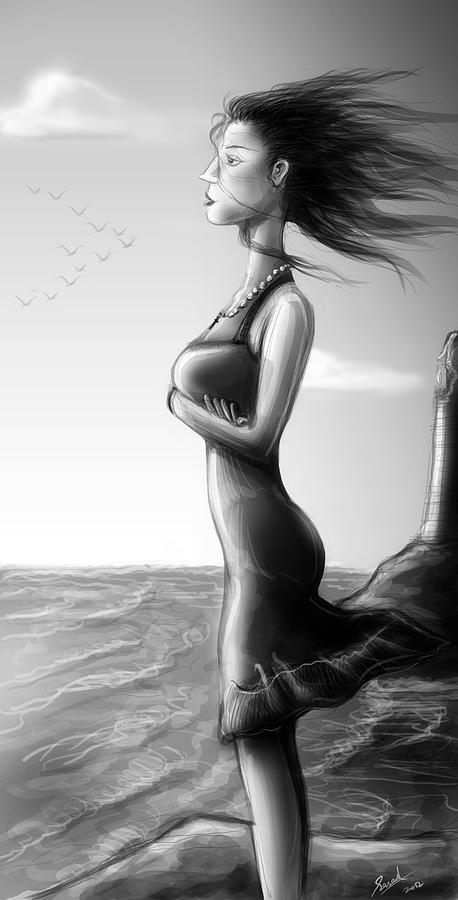 Woman Digital Art - Crepuscolo Sul Mare by Sasank Gopinathan