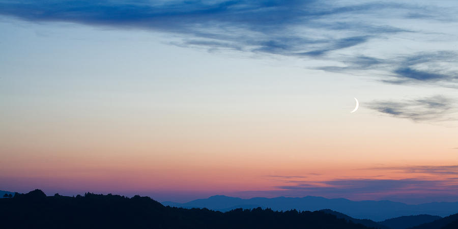 Mountains Photograph - Crescent Moon Twilight by Ian Middleton