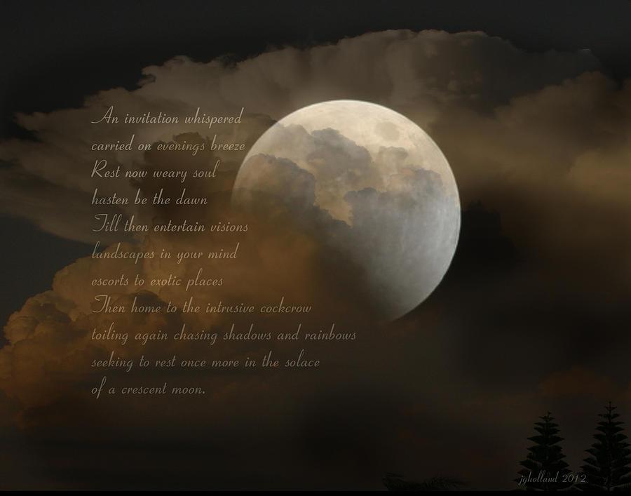 Poem Photograph - Cresent Moon  by Joseph G Holland