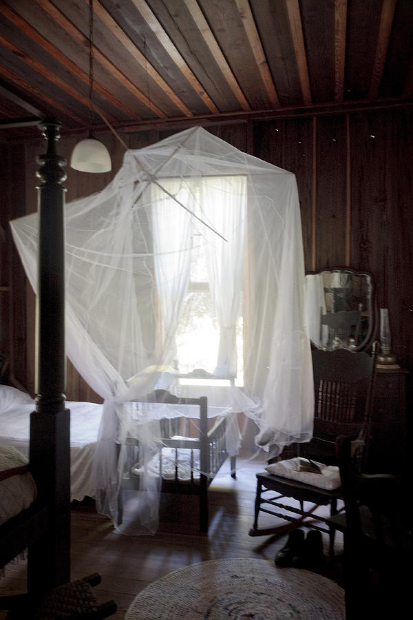 Vintage Photograph - Crib With Mosquito Netting In A Florida Cracker Farmhouse by Lynn Palmer