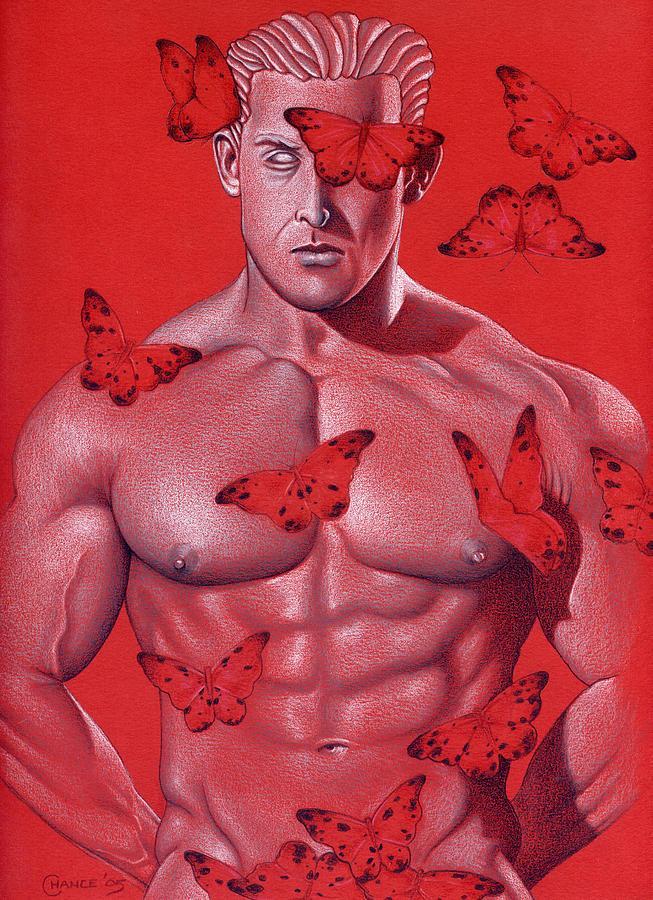 Male Nude Drawing - Crimson Flight by Chance Manart