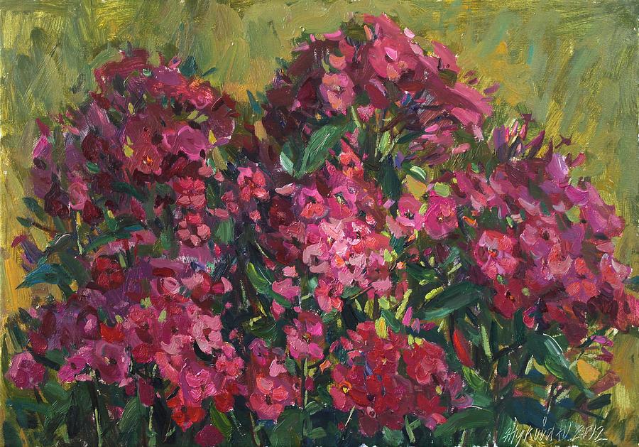 Phlox Painting - Crimson Phloxes by Juliya Zhukova
