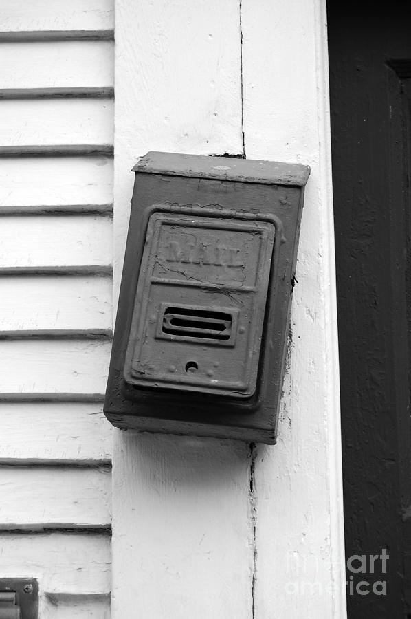 New Orleans Photograph - Crooked Old Fashioned Metal Green Mailbox French Quarter New Orleans Black And White by Shawn OBrien