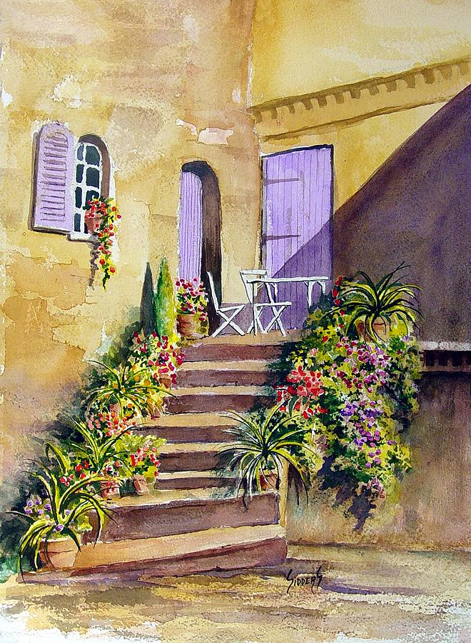 Flowers Painting - Crooked Steps And Purple Doors by Sam Sidders