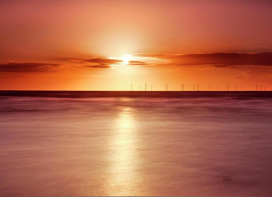 Horizontal Photograph - Crosby Beach In Sunset by Ian Moran