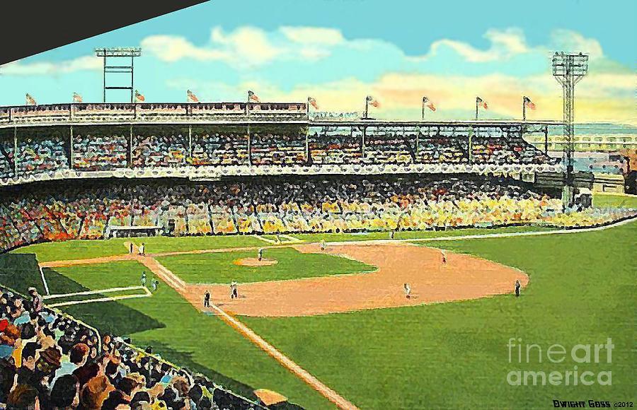 Cincinnati Oh Painting - Crosley Field Baseball Stadium In Cincinnati Oh by Dwight Goss