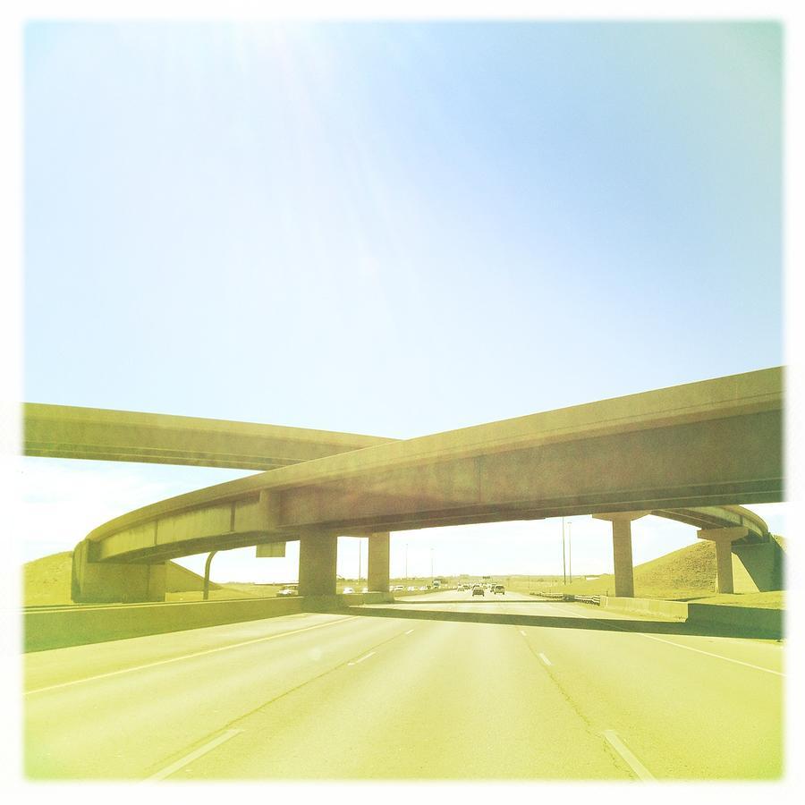 Square Photograph - Cross Bridge Over Road by A L Christensen