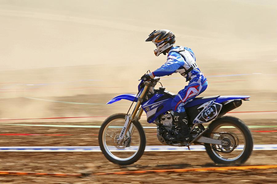 Biker Photograph - Cross Country Motorbike Racing by Photostock-israel
