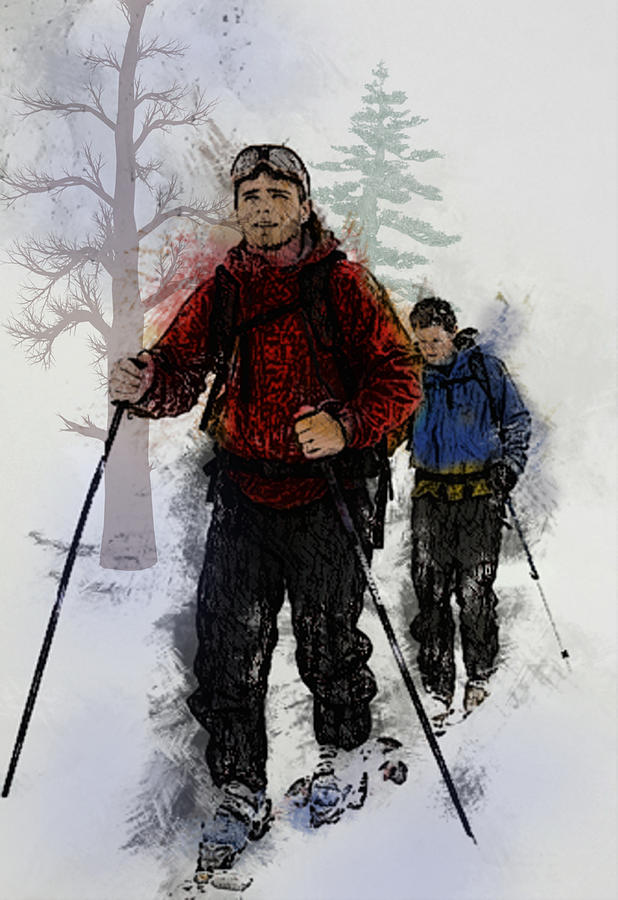 Ski Painting - Cross Country Skiers by Elaine Plesser
