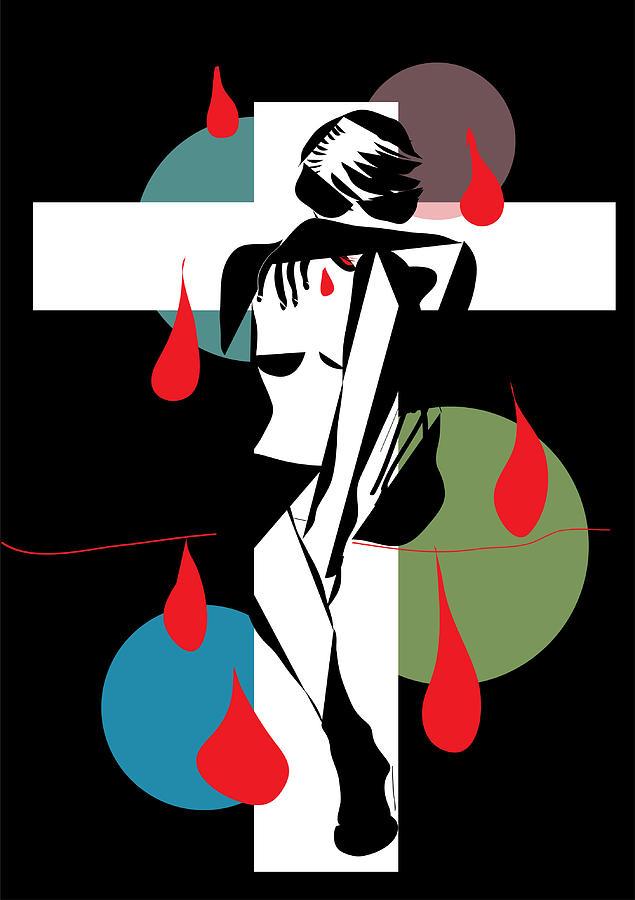 Abstract Digital Art - Cross ...cry..bleeding ..888 by Frank  Gulsftream