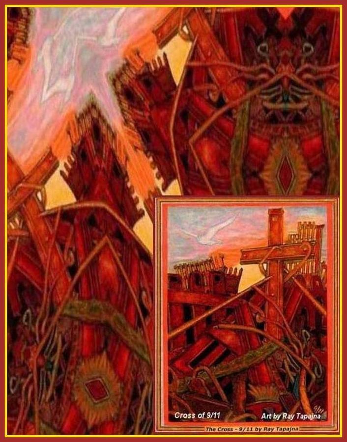 Abstract Mixed Media - Cross Nine Eleven Tangle of Terror by Ray Tapajna