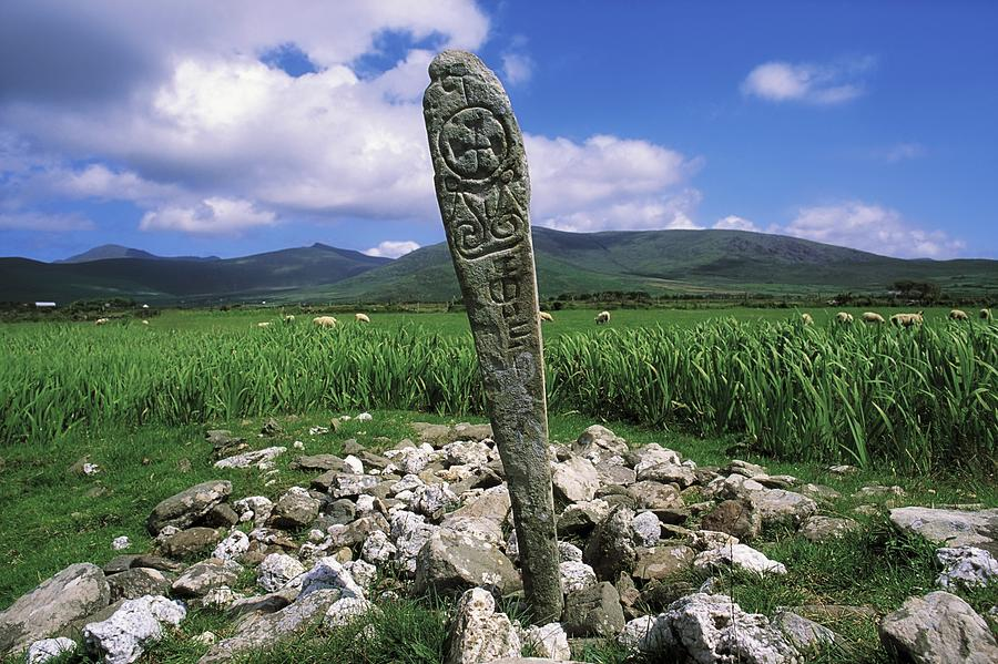 Animals Photograph - Cross Slab, Dingle Peninsula, Co Kerry by The Irish Image Collection