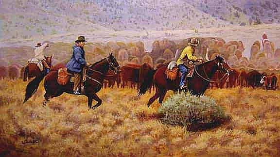 Cowboys Painting - Crossing Behind The Herd by Ronald Wilkinson
