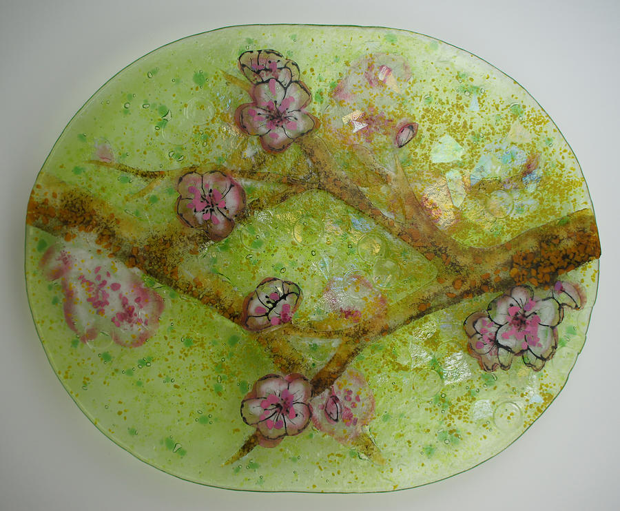 Branch Glass Art - Crossing Branches- Cherry by Michelle Rial