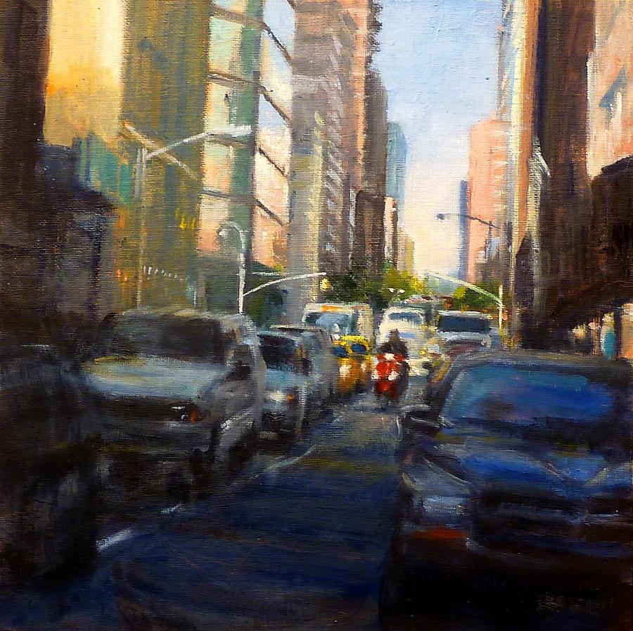 Landscape Painting - Crosstown On West 58th by Peter Salwen