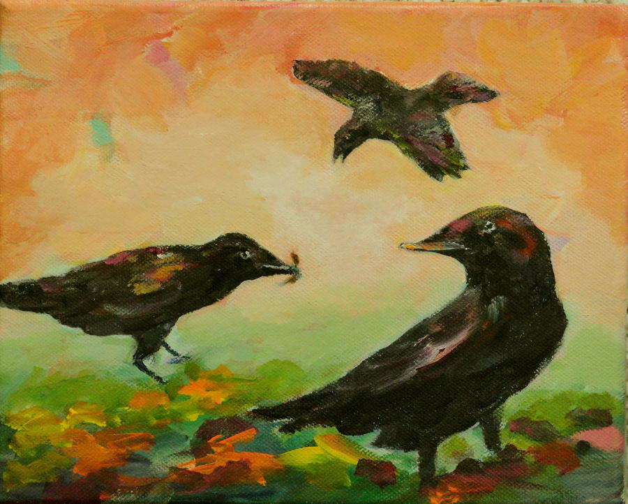 Crows Painting - Crow Entertainment by Naomi Gerrard