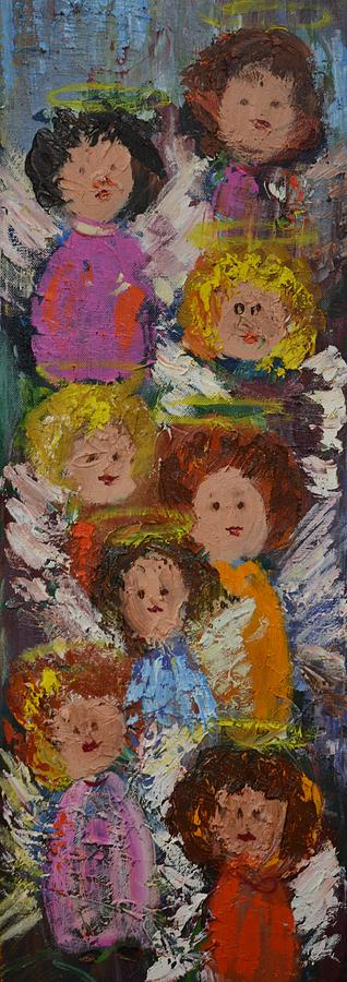 Angels Painting - Crowd Of Angels by Kathy  Cuiffi