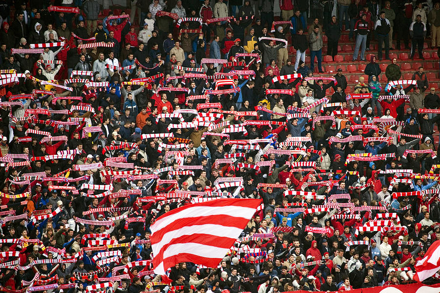 Horizontal Photograph - Crowd Of Fans Raise Scarves In Support Of Red Star, One Of Sebias Premier Soccer Teams by Greg Elms