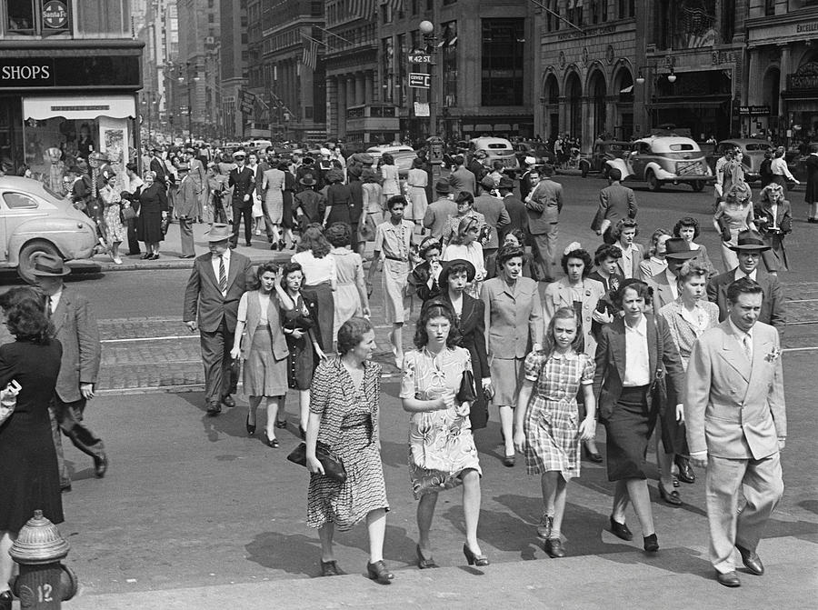 Adults Only Photograph - Crowd On 42nd St And 5th Avenue, Nyc Circa 1940s by George Marks