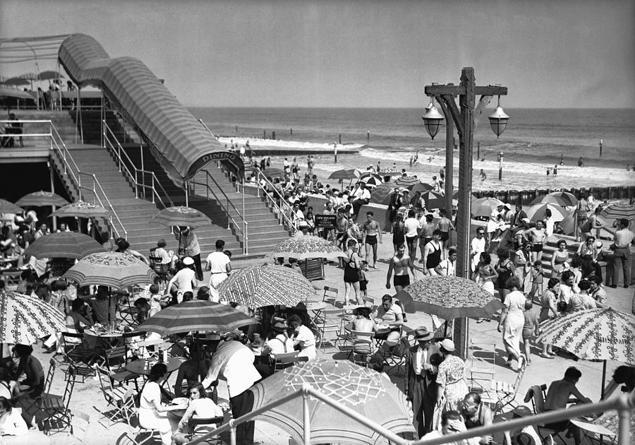 Horizontal Photograph - Crowded Beach, (b&w), Elevated View by George Marks