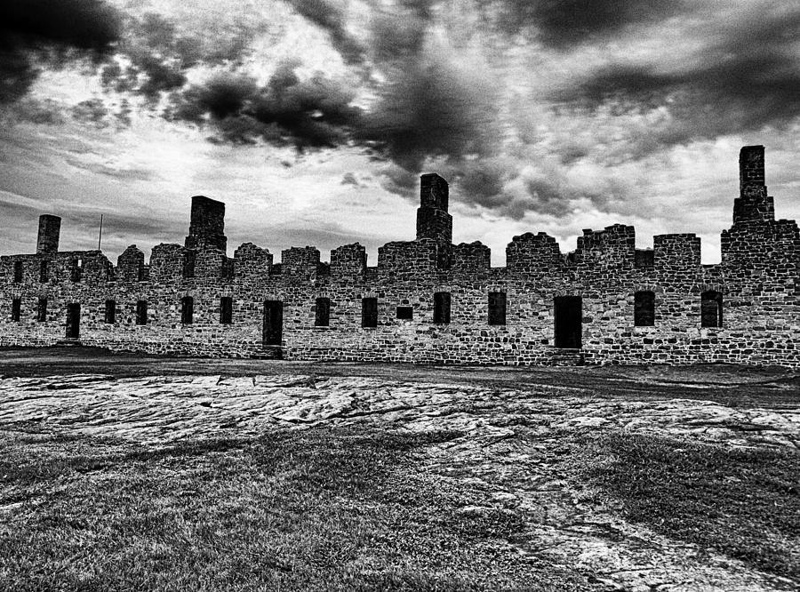 Crown Point Photograph - Crown Point Barracks Black And White by Joshua House