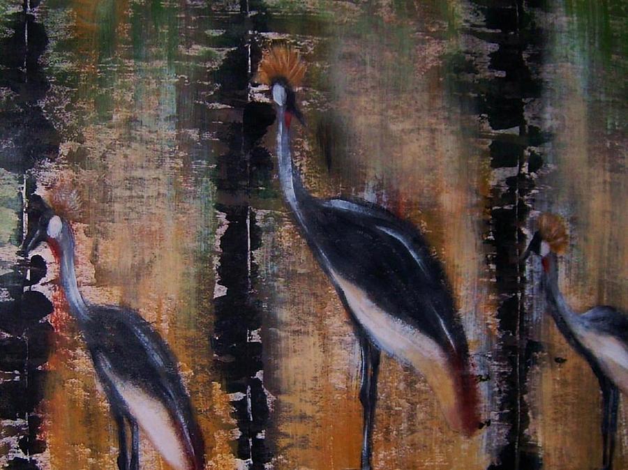 Nature Painting - Crowned cranes by Joseph Ferguson